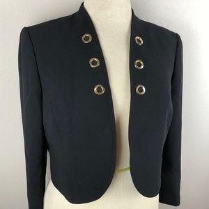 Tahari ASL Cropped Blazer Jacket Size 6 Black